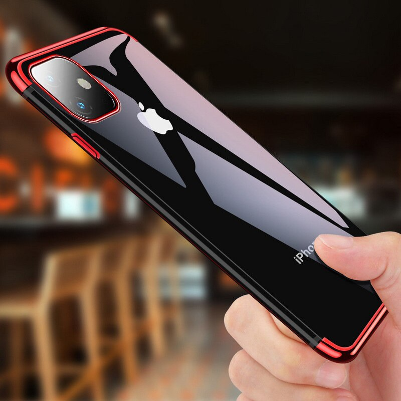 Electroplated Case For iPhone 7 8 6 6s s Plus Luxury Transparent Soft Silicon Plating Cover For iPhone X XR XS Max Shell 11 Pro
