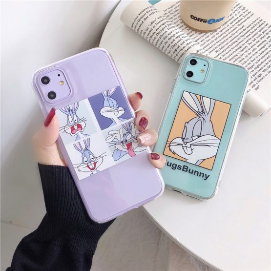 Cartoon Transparent Case For iPhone 11 11Pro Max For iPhone Cartoon Transparent Case For iPhone 11 11Pro Max For iPhone X XR XS Max 7 8 Plus Bugs Bunny Phone Case Cute Soft Back Cover.
