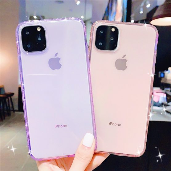 Candy Color Transparent Soft Bling Diamond Case For iphone11 11 Pro Max XS X XS Max 6 6s 7 8 Plus TPU Purple Clear Cover Gift