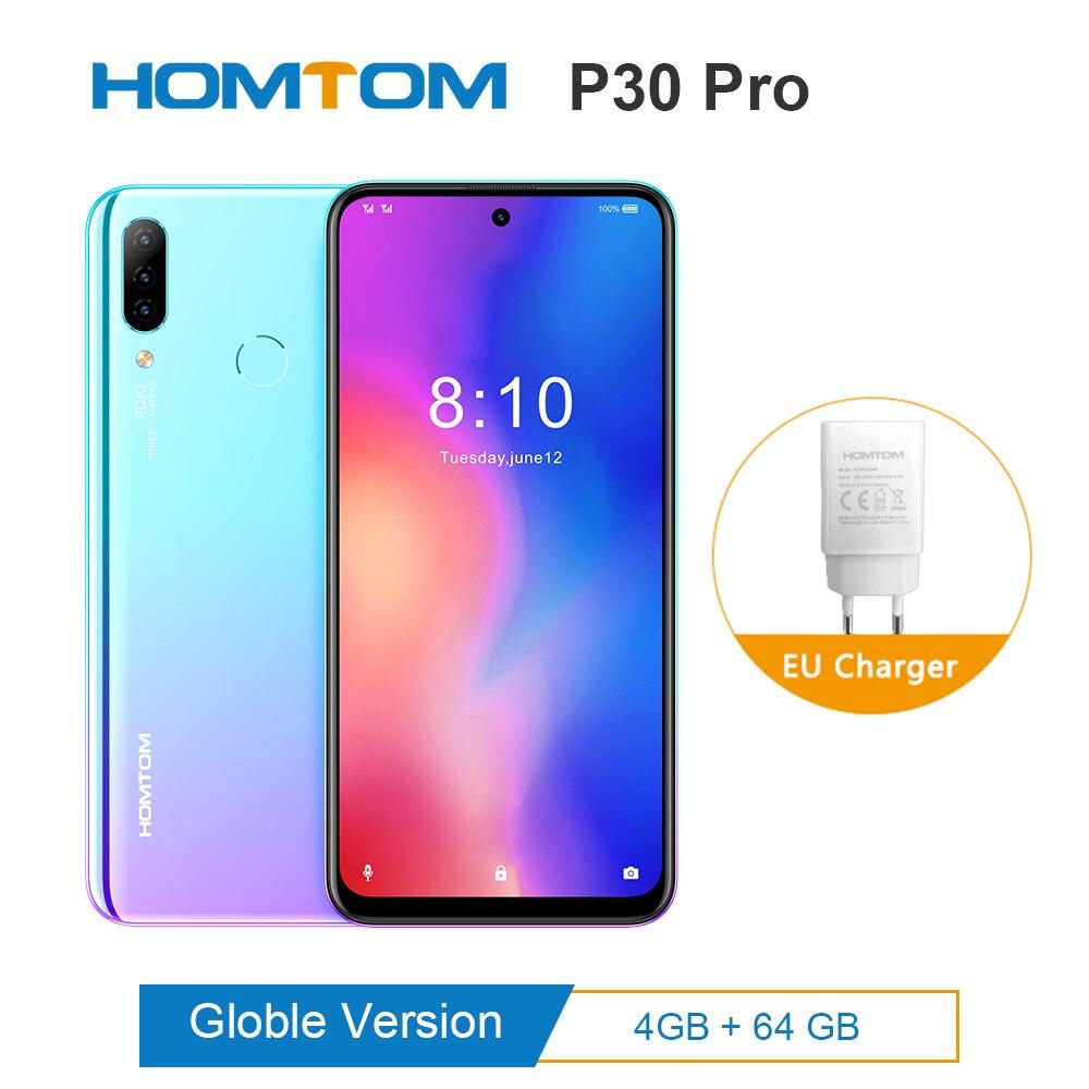 Original HOMTOM P30 pro Android 9.0 MTK6763 Octa Core 4GB 64GB Glass case Smartphone 6.41inch 4000mAh 4G FDD-LTE Mobile Phone