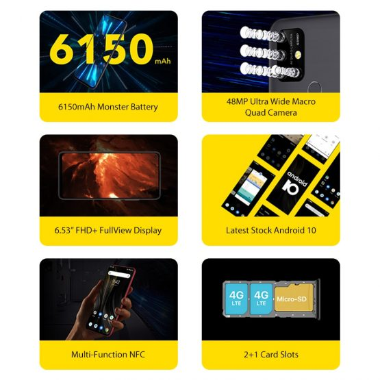 """UMIDIGI Power 3 Android 10 48MP Quad AI Camera 6150mAh 6.53"""" FHD+ 4GB 64GB Helio UMIDIGI Power 3 Android 10 48MP Quad AI Camera 6150mAh 6.53"""" FHD+ 4GB 64GB Helio P60 Global Version Smartphone NFC Pre-sale."""