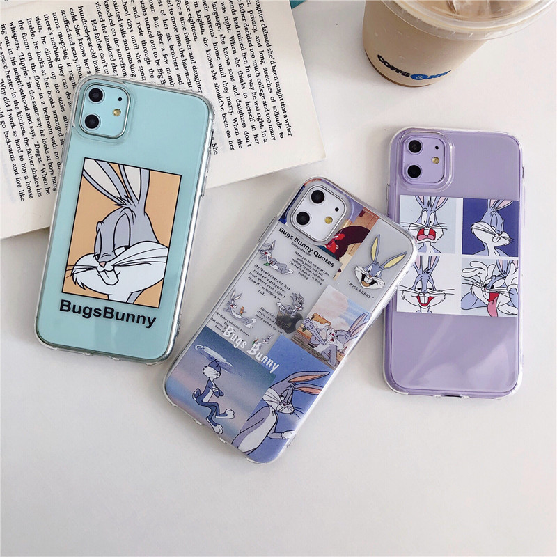 Cartoon Transparent Case For iPhone 11 11Pro Max For iPhone X XR XS Max 7 8 Plus Bugs Bunny Phone Case Cute Soft Back Cover