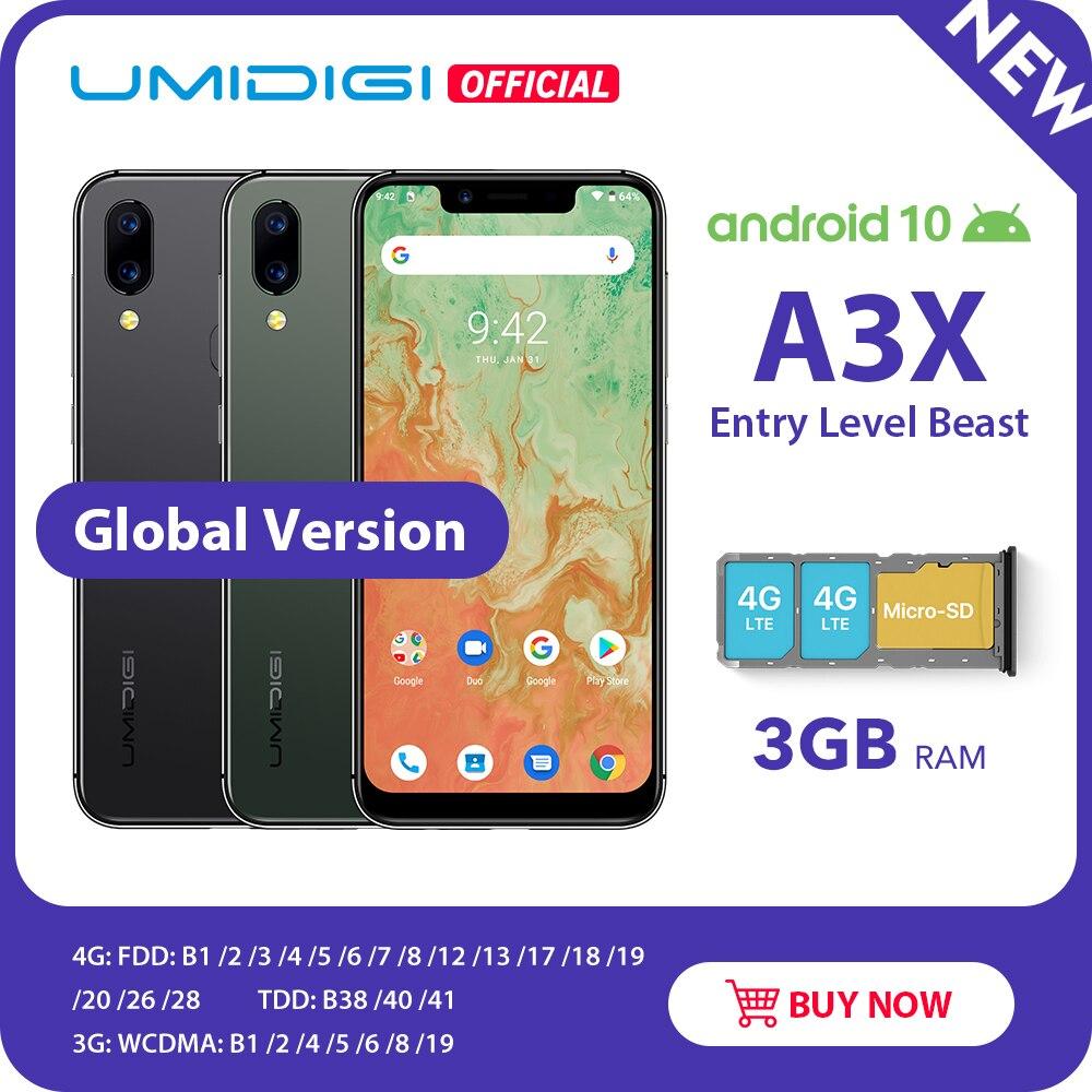 "UMIDIGI A3X Android 10 Global Version 3GB RAM 5.7"" Smartphone Dual Rear Camera 13MP Selfie MT6761 Dual 4G Triple Slots 3300mAh"