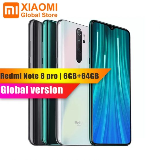 "Global Version Xiaomi Redmi Note 8 Pro 6GB 64GB NFC Mobile Phone Helio G90T Quick Charging 4500mAh 64MP Camera 6.5"" Smartphone"