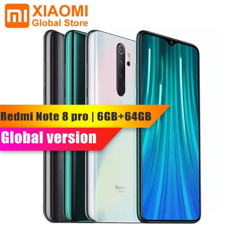 "Global Version Xiaomi Redmi Note 8 Pro 6GB 64GB NFC Mobile Phone Helio G90T Quick Charging 4500mAh 64MP Camera 6.5"" Smartphone"