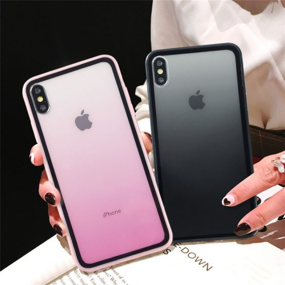 Rainbow Gradient Soft Silicone Frame Shockproof Case For iphone 11 XS Max XS Rainbow Gradient Soft Silicone Frame Shockproof Case For iphone 11 XS Max XS 6 6s 7 8 Plus Acrylic Transparent Protective Cover.