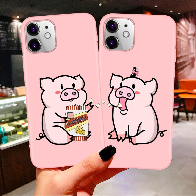 Bff Best Friends Couples Soft Phone Case For iphone 11 Pro Max Cartoon Pig Print Pink Tpu Cover For iPhone 7 8 Plus X XR XS Max