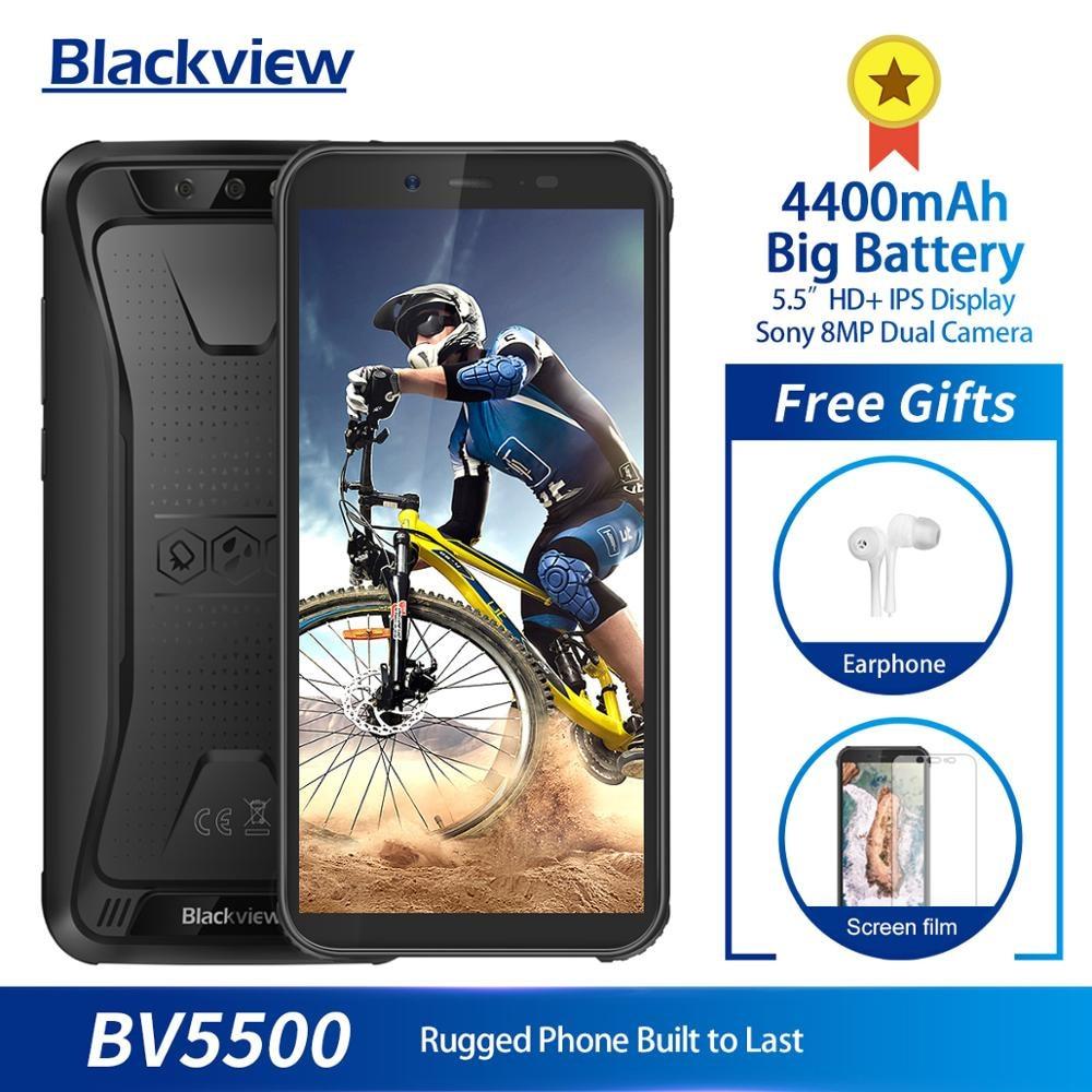 "Original Blackview BV5500 5.5"" IP68 Waterproof Rugged Outdoor Smartphone 2GB+16GB Android 8.1 4400mAh Dual SIM 18:9 Mobile Phone"