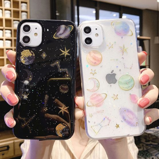Lovebay Glitter Bling Stars Moon Case For iPhone 11 Pro X XR XS Max 7 8 6 6s Plus Lovebay Glitter Bling Stars Moon Case For iPhone 11 Pro X XR XS Max 7 8 6 6s Plus Clear Planet Phone Cases Soft TPU Back Cover.