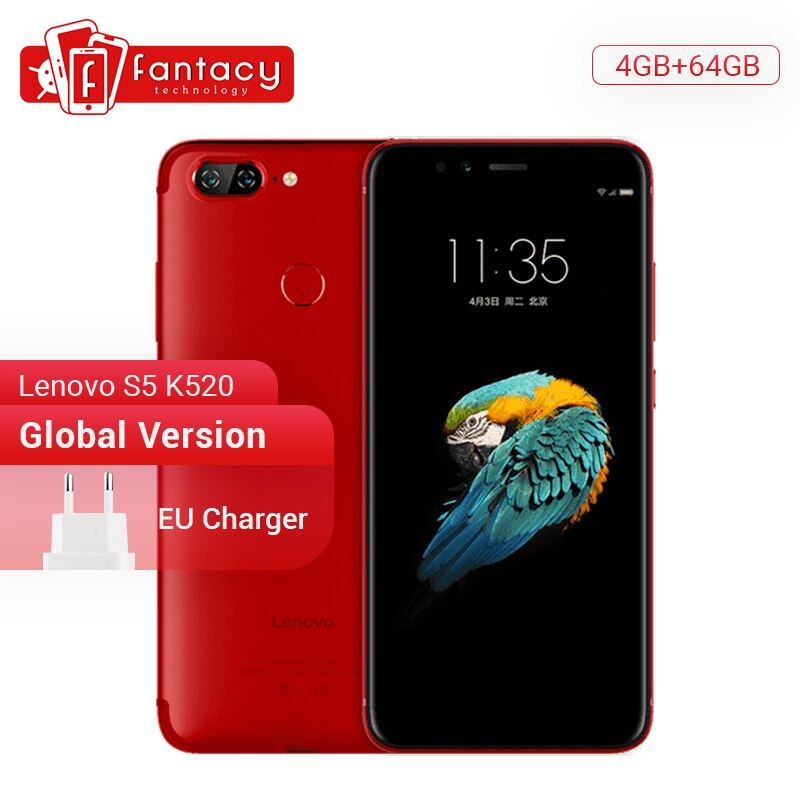 Global Version Lenovo S5 K520 4GB RAM 64GB ROM Snapdragon 625 Octa core Smartphone Dual Rear 13MP Cameras Face ID 4K Cellphone