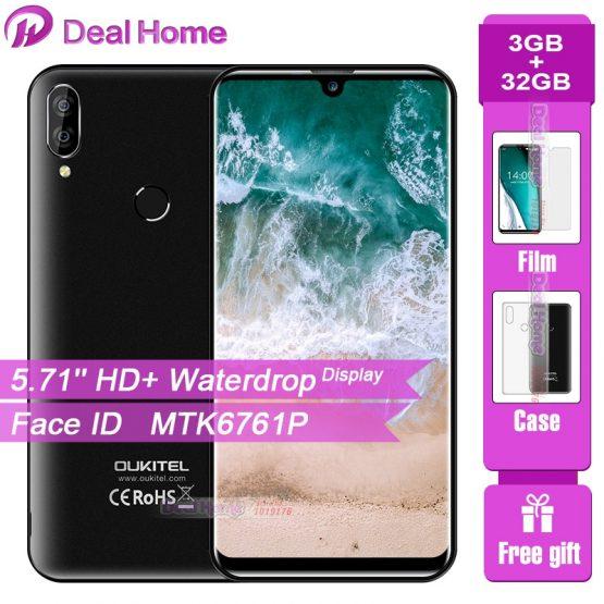 "Oukitel C16 Pro 5.71""Waterdrop Screen Smartphone 3GB 32GB MTK6761P Quad Core Face ID Fingerprint 2600mAh 4G LTE Mobile Phone"
