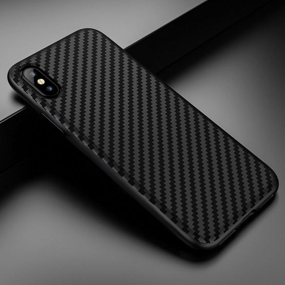 Phone Case For iphone 11 pro Max 7 8 6 6s plus Cover For Soft Plain Black Carbon Fiber protection case For iphone X 5 5s Cover