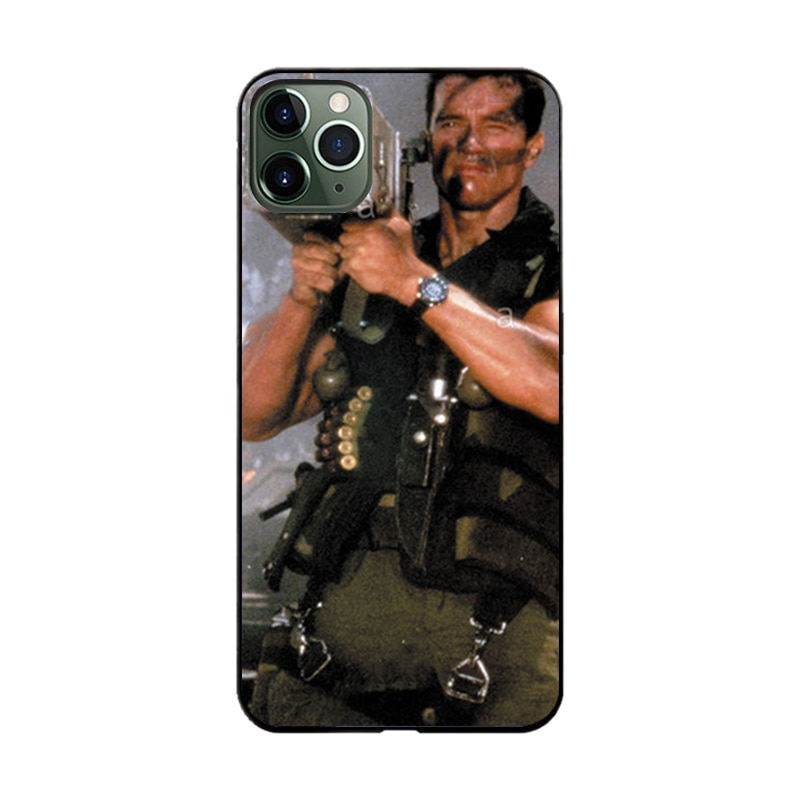 arnold schwarzenegger machine gun terminator case for iphone 11 i phone11 pro max arnold commando rocket poster case on iphone11
