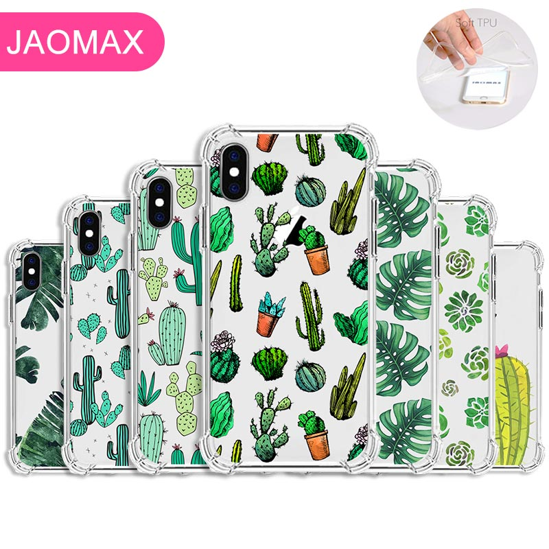 Jaomax Summer Soft Silicone Banana Leaves Cactus Plant Phone Case For iPhone 11 Xs Max 7 8 6S Plus 5 Transparent Cover Coque