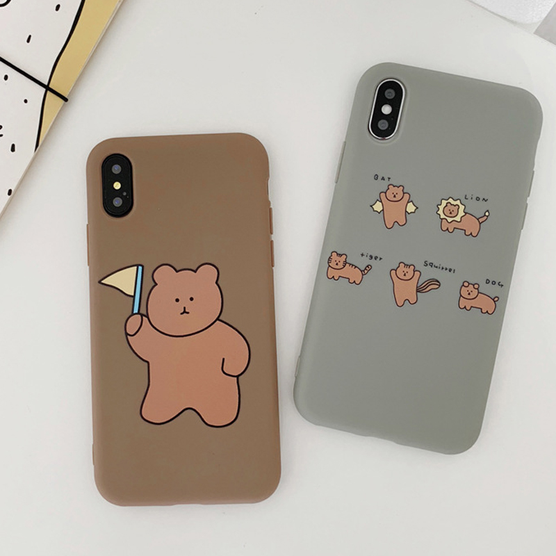 JAMULAR Cartoon Bear Silicone Soft Phone Case For iPhone 7 11 Pro X XS MAX XR 6 6s 8 Plus Funny Matte Back Cover Thick Coque Bag