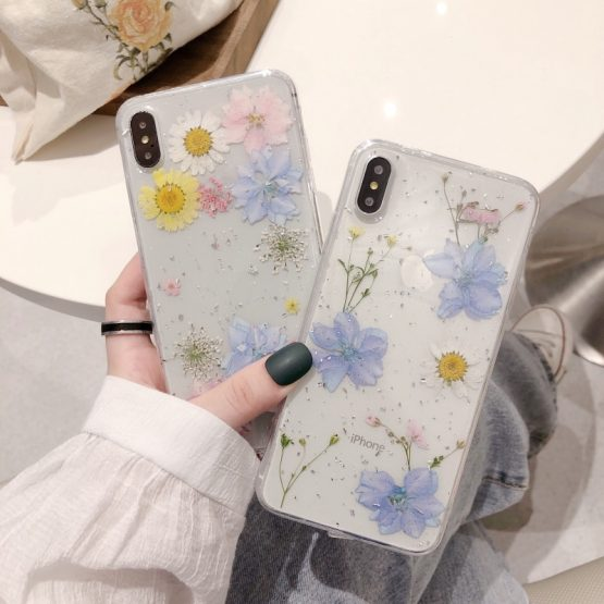 Fashion Glitter real Dry pressed Flower phone case For iphone 11 pro XS MAX x XR 6 7 8 plus transparent silicone back cover girl