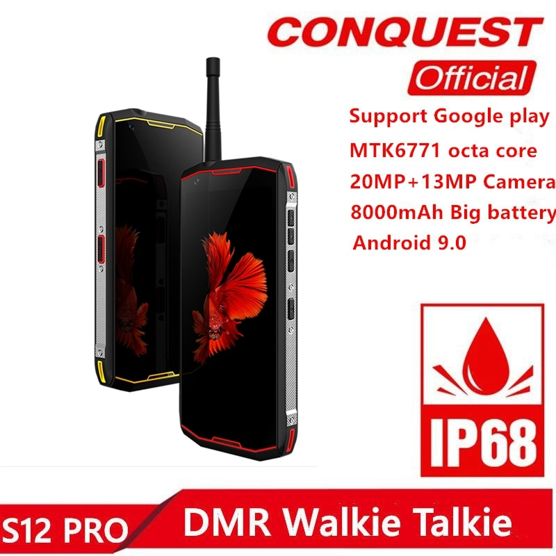 """S12 Pro IP68 Waterproof Rugged Smartphone 6GB+128GB 5.99"""" 8000mAh Android 9.0 P70 Octa Core DMR Walkie Talkie Outdoor Cellphone"""