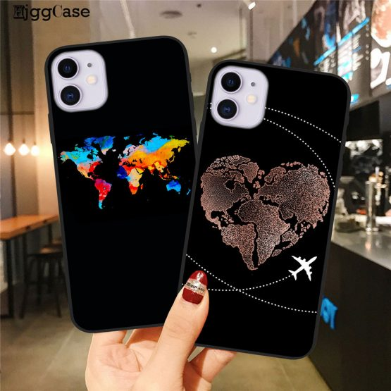 World Map Travel Just Go Phone Case For iPhone XS MAX X 11Pro XR 7 8 6 6s Plus World Map Travel Just Go Phone Case For iPhone XS MAX X 11Pro XR 7 8 6 6s Plus Fashion Black Silicone Soft Back Cover Case Coque.