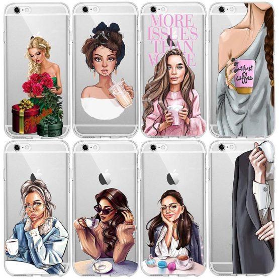 Goddess VOGUE Art Princess Girls Female boss coffee Soft Silicone TPU phone Case For iPhone 5 6 6s 7 8 Plus X XR XS 11 MAX Case