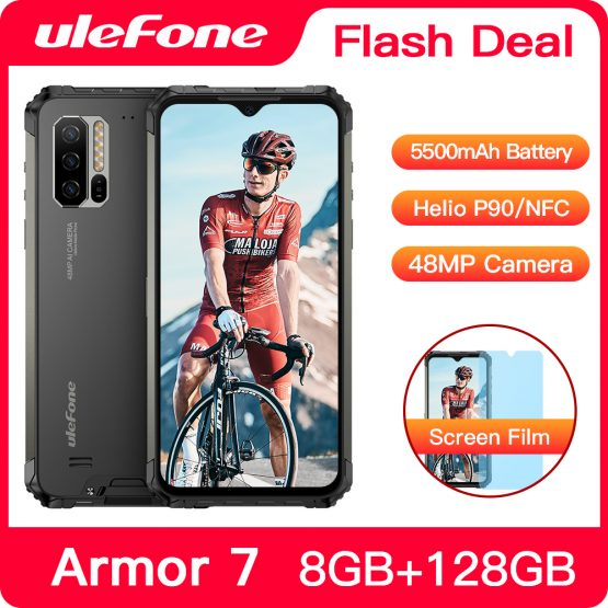 Ulefone Armor 7 IP68 Waterproof Rugged Smartphone Android 9.0 NFC Helio P90 Octa Core 6.3'' 8GB+128GB 48MP 5500mAh Mobile Phone
