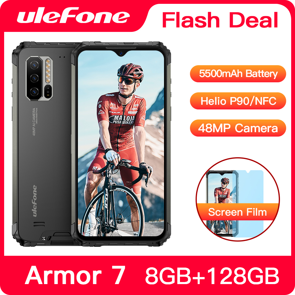 Ulefone Armor 7 IP68 Waterproof Rugged Smartphone Android 9.0 NFC Helio P90 Octa Core 6.3'' 8GB+128GB 48MP 5500mAh Mobile Phone