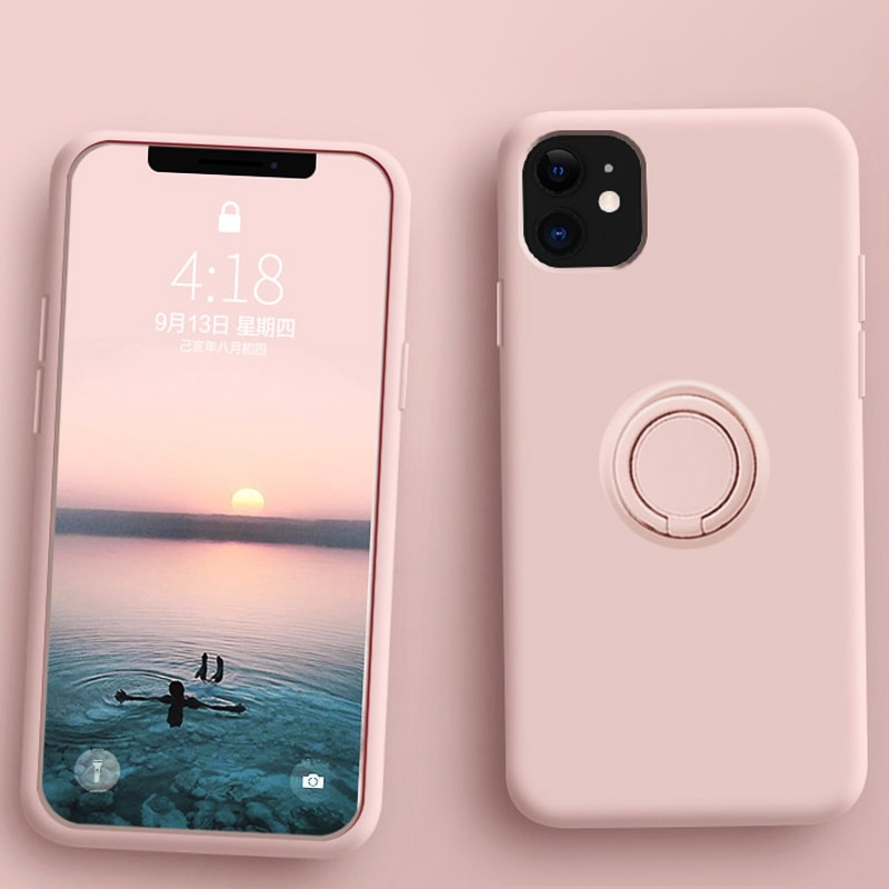 Luxury Soft Liquid Silicone Case For iPhone 11 Pro Max XS X 7 8 6 S 6S XR Stand Ring Holder Slim Cover iPhone11 Pro Case iPhonex
