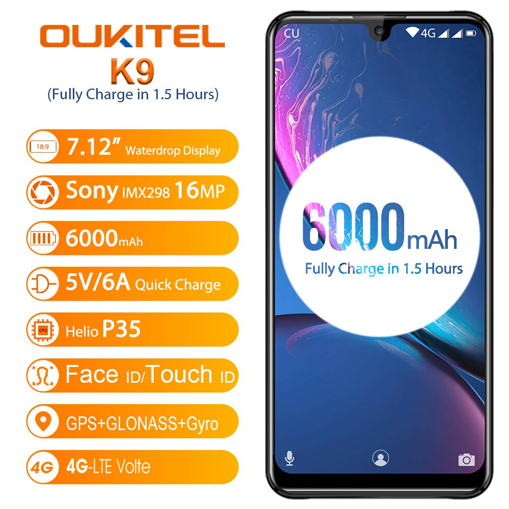 """OUKITEL K9 K 9 7.12"""" Android 9.0 Cellphone 4GB 64GB MT6765 Smartphone 6000mAh 5V/6A Mobile Phone Octa Core OTG Face ID 8MP/16MP"""