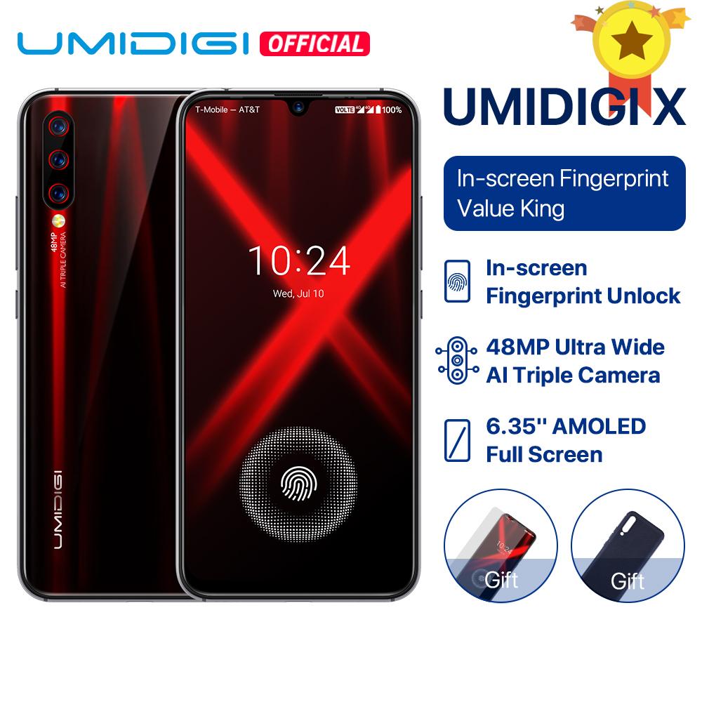 "UMIDIGI X In-screen Fingerprint Global Version 6.35"" AMOLED 48MP Triple Rear Camera 128GB NFC Helio P60 4150mAh Smartphone"