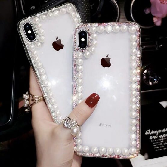 Glitter Pearl Clear Phone Cases For iPhone 11 Pro Max XR XS MAX X 8 7 6 6S Plus Case Cover For iPhone 11 Pro XR XS MAX X Plus