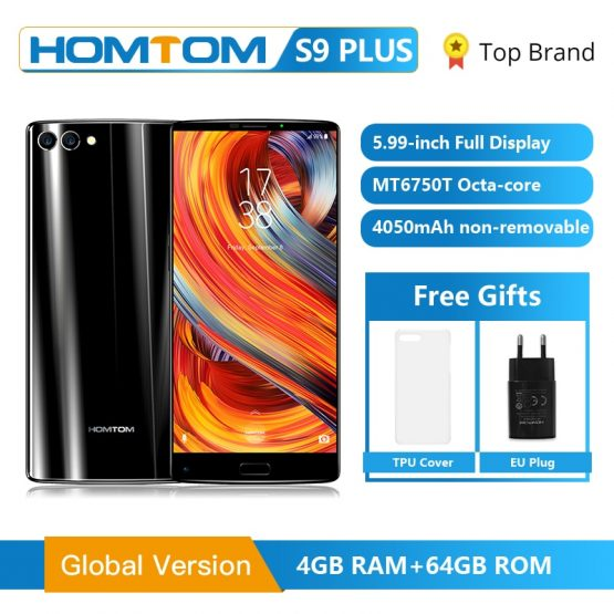 "HOMTOM S9 Plus 18:9 HD+ 5.99"" Tri-bezelless Full Display Cell phone MTK6750T Octa Core 4G RAM 64G ROM Dual Back Cam Smartphone"