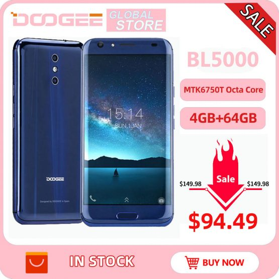 DOOGEE BL5000 Android 7.0 12V2A Quick Charge 5050mAh 5.5'' FHD MTK6750T Octa Core 4GB RAM 64GB ROM Dual 13.0MP Camera Smartphone