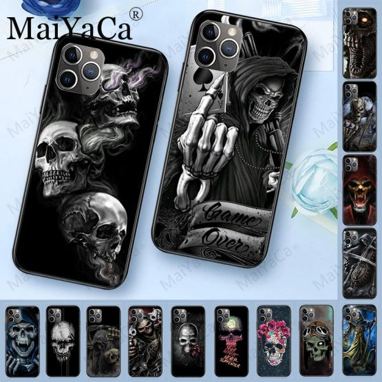MaiYaCa Grim Reaper Skull Skeleton Luxury Hybrid phone case for iPhone 6S 6plus 7 7plus 8 8Plus X XS MAX XR 5 5S 11pro max case