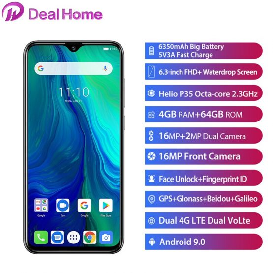 "Ulefone Power 6 6.3"" 19.5:9 FHD Smartphone Android 9.0 Helio P35 Octa Core 4GB 64 GB 6350mAh NFC 4G Mobile Phone"