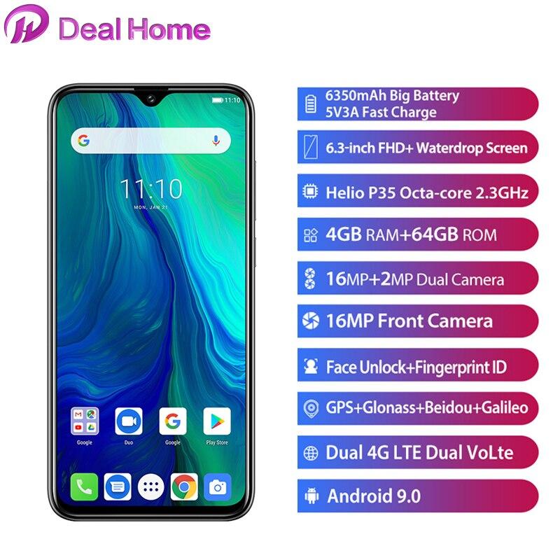 "Ulefone Power 6 6.3"" 19.5:9 FHD Smartphone Android 9.0 Helio P35 Octa Core 4GB 64 GB 6350mAh NFC 4G Mobile Phone"