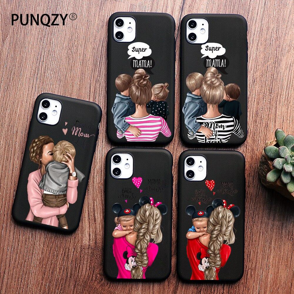 PUNQZY Cute Baby Super Girl mom Love Case For iphone 11 pro MAX 7S 5 6 6s 8 7 Plus X XS MAX TPU Silicone Black Matte Case Cover