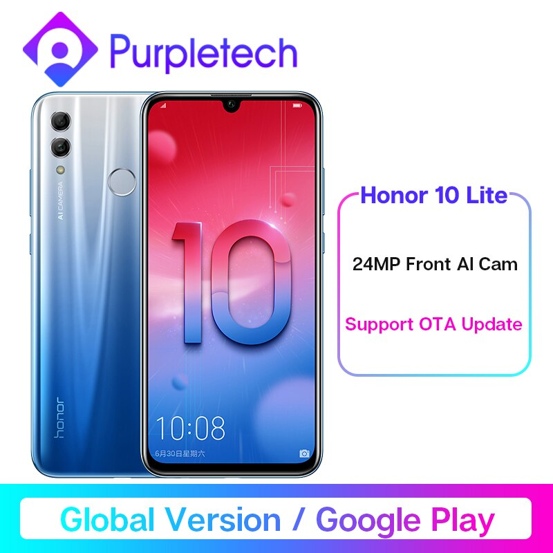 "Global Version Honor 10 Lite Smartphone Kirin 710 Octa Core 6.21"" 24MP Front Camera Mobile Phone Android 9.0 2340X1080P & OTA"