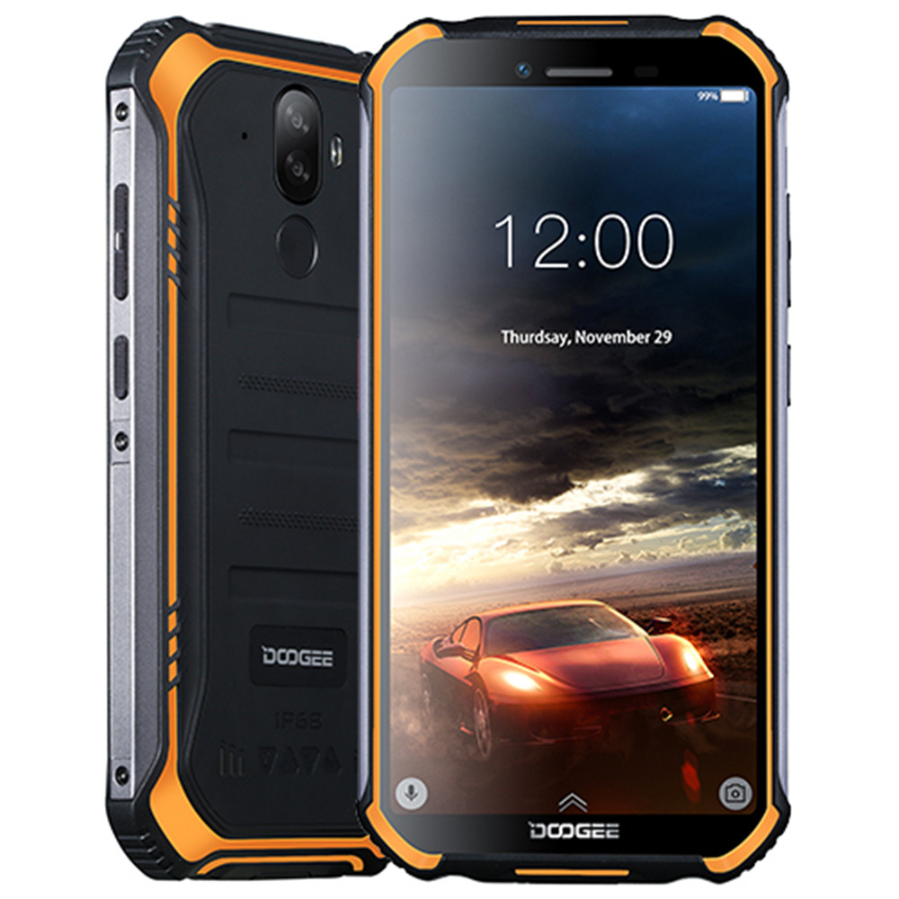 "Doogee S40 Android 9.0 Pie Cell Phone IP68 IP69K Waterproof 5.5"" 4650mAh Face ID Fingerprint Unlock 4G LTE NFC Smartphone"
