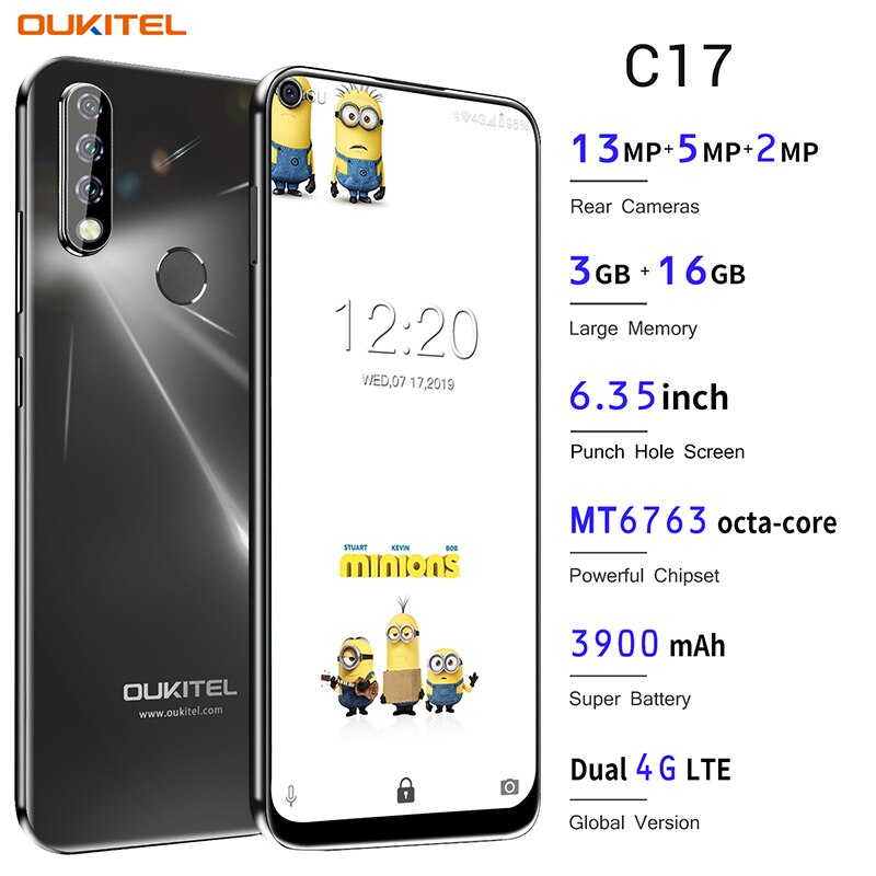 OUKITEL C17 Android 9.0 Smartphone 6.35'' Face ID Fingerprint 4G Mobile Phone