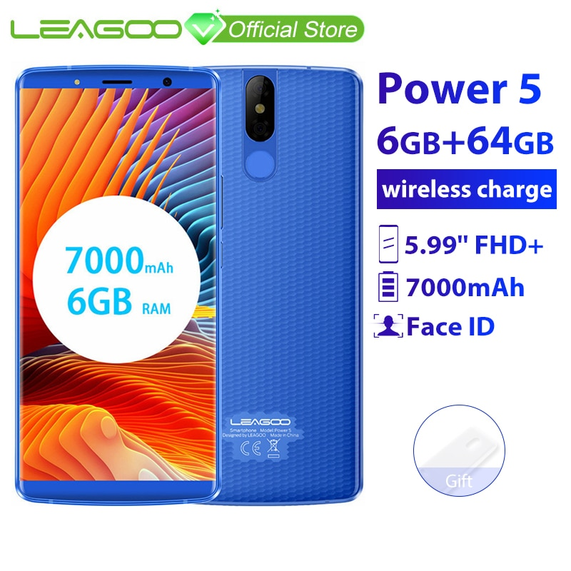 "LEAGOO Power 5 Smartphone 5.99"" FHD+ 18:9 RAM 6GB ROM 64GB Android 8.1 MT6763 Octa Core 7000mah Dual Rear Cams 4G Mobile Phone"