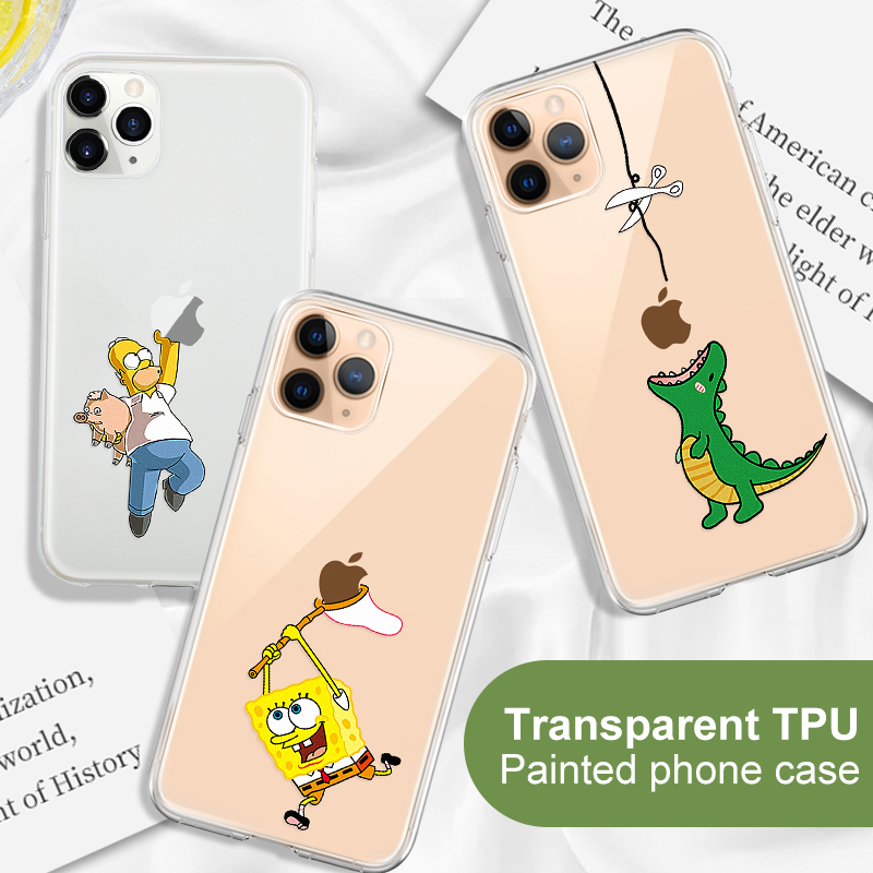 Funny Cartoon Phone Case For iPhone 11 Pro 11Pro Max Case Printed Cartoon Cat Soft Silicone TPU cover Shell For iPhone11 Pro Max