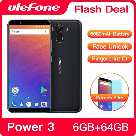 Original Ulefone Power 3 FHD+Screen 6080mAh Big Battery Smartphone Android 7.1 Face ID 6GB+64GB Touch ID 21MP Camera Cellphone