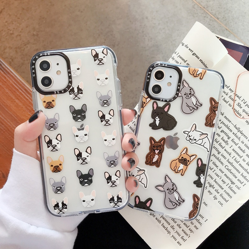Cute French Bulldog Phone Case for iPhone 7 8 Plus X XS 11 PRO Max Coque For iPhone XR Clear Soft TPU Cover with Black Len Frame