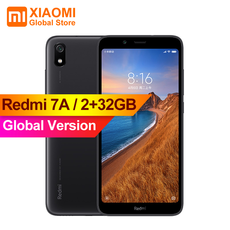 "Global Version Original Xiaomi Redmi 7A 7 A 2GB 32GB Smartphone 4000mAh Long Battery Life AI Face Unlock Octa Core 5.45"" Phone"