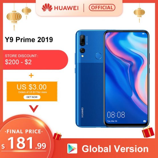Original Huawei Y9 Prime 2019 Smartphone AI Triple Rear Cameras Global Version cellphone 4G 128G Auto Pop-Up Front Camera 6.59