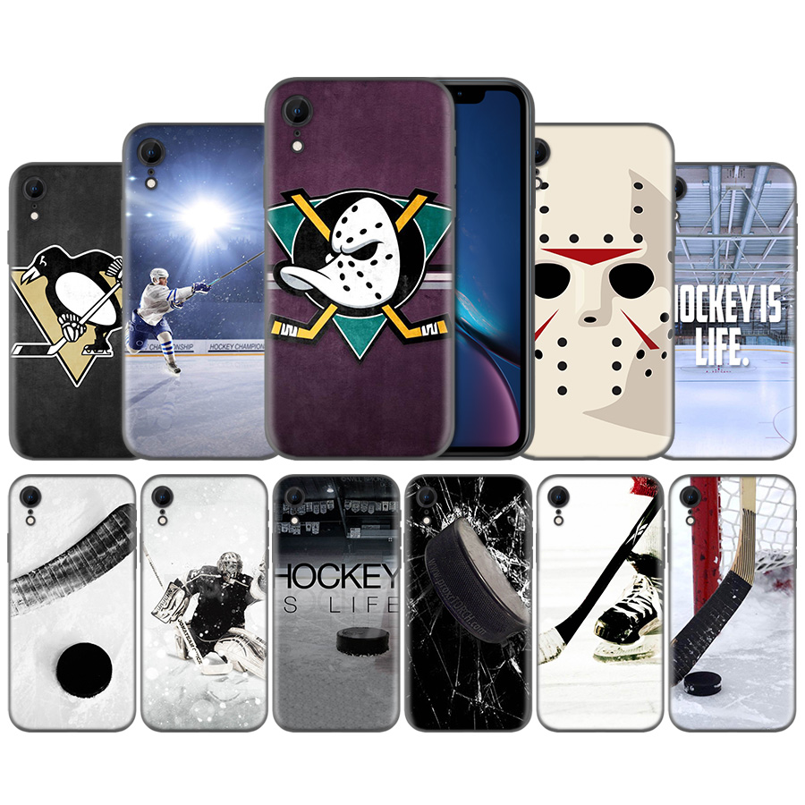 Hockey Is Life Pattern Silicone Ultra-thin Silicone Case Cover for iPhone X XS XR XS 11 11Pro Max 7 8 6 6S 5 5S 5C SE Plus Cover