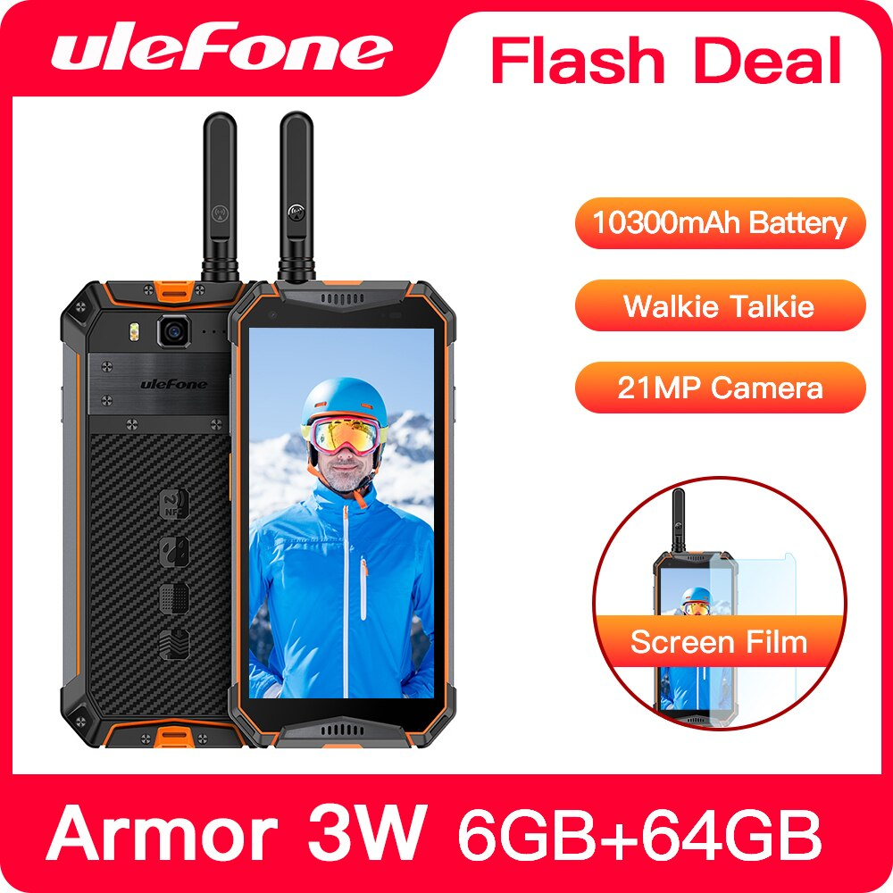 """Ulefone Armor 3WT IP68 Rugged Smartphone Android 9.0 5.7"""" Helio P70 6G+64G 10300mAh Cell Phone 4G 21MP NFC Mobile Phone Android"""