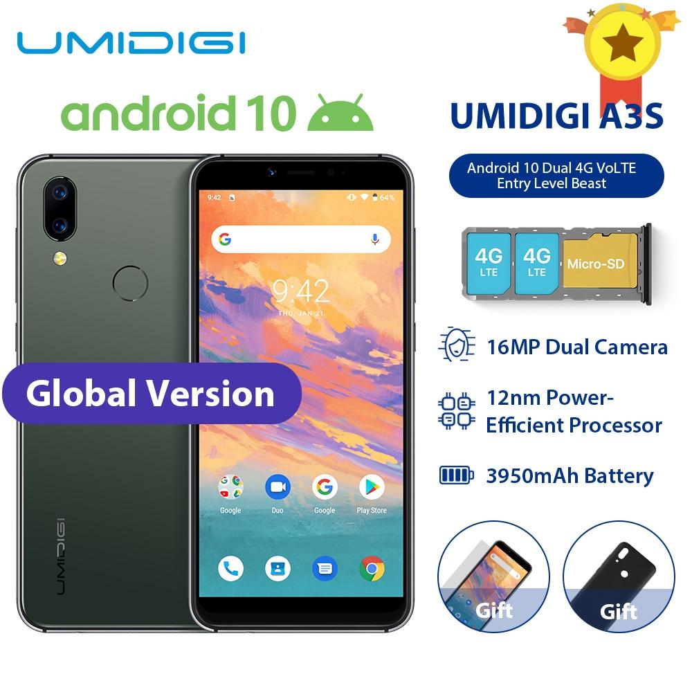 "UMIDIGI A3S Smart Phone Android 10 Global Band 3950mAh 16MP+5MP MT6761 5.7"" 2GB+16GB Smartphone 13MP Selfie Dual 4G Triple Slots"