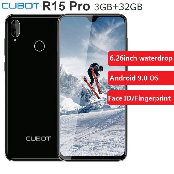 "Cubot R15 Pro 3GB+32GB ROM Smartphone Android 9.0 Quad Core 6.26"" Waterdrop 13MP 3000mAh Fingerprint Face ID Mobile Cellphone"