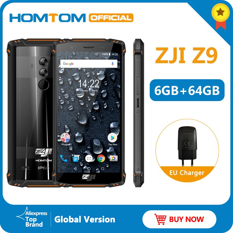 Global Version HOMTOM ZJI Z9 Helio P23 IP68 Waterproof 4G LTE Smartphone 5.7 inch 6GB + 64GB ROM 5500mAh Full Bands Mobile Phone