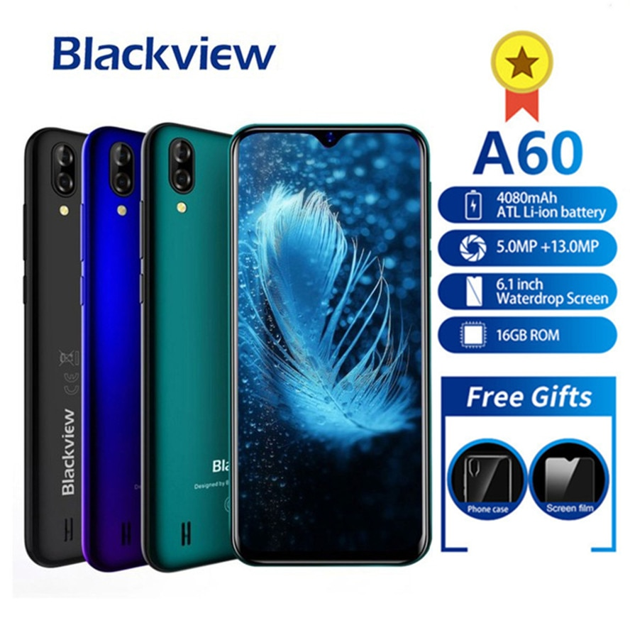 """Blackview A60 Smartphone 4080mAh Android 8.1 13MP Dual Camera Cellphone MT6580A Quad core 6.1""""Waterdrop Screen Mobile Phone A 60"""